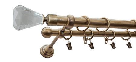 Karnisz FAON Złoty Antyk,  podwójny Ø25+Ø16 z rurą gładką.