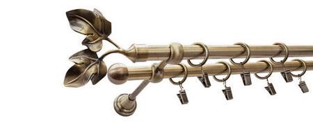 Karnisz GAŁĄZKA Złoty Antyk,  podwójny Ø16+Ø16 z rurą gładką.
