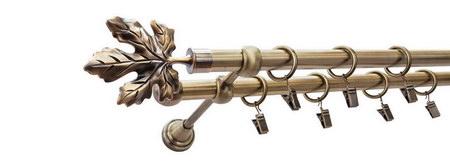 Karnisz KLON Złoty Antyk,  podwójny Ø16+Ø16 z rurą gładką.