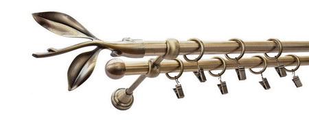 Karnisz LISTEK Złoty Antyk,  podwójny Ø16+Ø16 z rurą gładką.