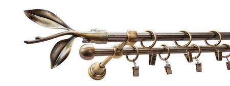 Karnisz LISTEK Złoty Antyk,  podwójny Ø16+Ø16 z rurą ryflowaną.