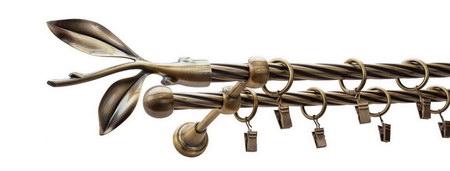 Karnisz LISTEK Złoty Antyk,  podwójny Ø16+Ø16 z rurą skrętną.