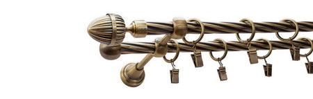 Karnisz ODEON Złoty Antyk,  podwójny Ø16+Ø16 z rurą skrętną.