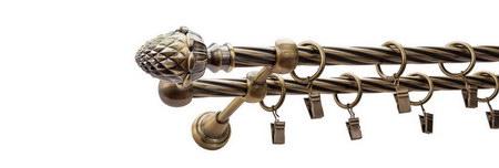 Karnisz ŻOŁĄDŹ Złoty Antyk,  podwójny Ø16+Ø16 z rurą skrętną.