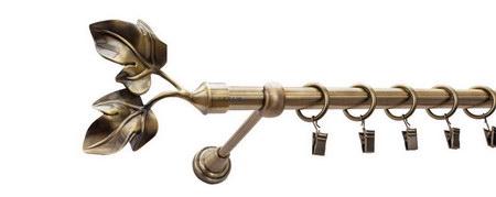 Karnisz GAŁĄZKA Złoty Antyk,  pojedynczy Ø16 z rurą gładką.