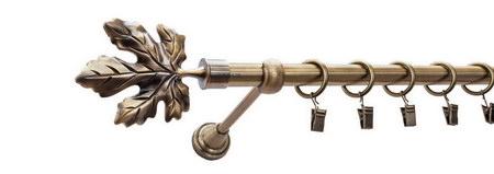 Karnisz KLON Złoty Antyk,  pojedynczy Ø16 z rurą gładką.