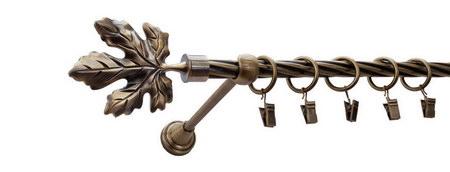Karnisz KLON Złoty Antyk,  pojedynczy Ø16 z rurą skrętną.