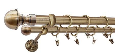 Karnisz BOSTON Złoty Antyk,  podwójny Ø25+Ø16 z rurą gładką.