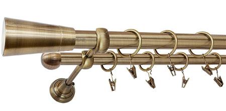 Karnisz IMPERIA Złoty Antyk,  podwójny Ø25+Ø16 z rurą gładką.