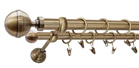 Karnisz KULA LUX Złoty Antyk,  podwójny Ø25+Ø16 z rurą gładką.