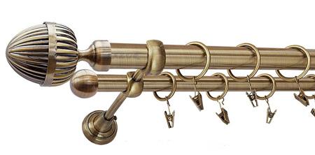 Karnisz ODEON Złoty Antyk,  podwójny Ø25+Ø16 z rurą gładką.