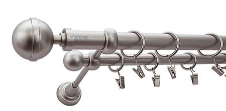 Karnisz KULA LUX Satyna,  podwójny Ø25+Ø16 z rurą gładką.