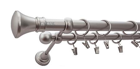 Karnisz LUXOR Satyna,  podwójny Ø25+Ø16 z rurą gładką.