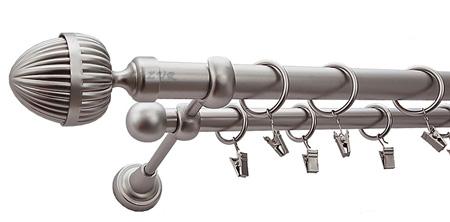Karnisz ODEON Satyna,  podwójny Ø25+Ø16 z rurą gładką.
