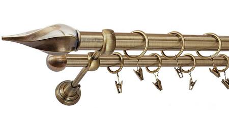 Karnisz TWISTER Złoty Antyk,  podwójny Ø25+Ø16 z rurą gładką.