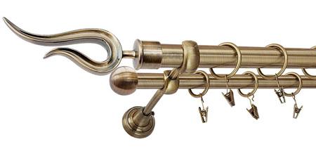 Karnisz VIOLO Złoty Antyk,  podwójny Ø25+Ø16 z rurą gładką.