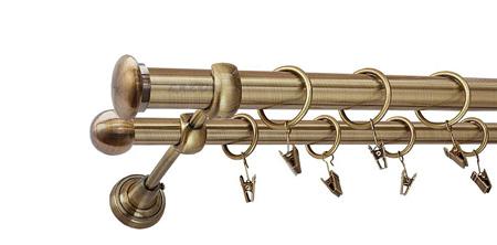 Karnisz ZAŚLEPKA Złoty Antyk,  podwójny Ø25+Ø16 z rurą gładką.