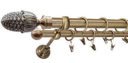 Karnisz ŻOŁĄDŹ Złoty Antyk,  podwójny Ø25+Ø16 z rurą gładką.