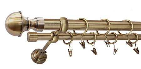 Karnisz BOSTON Złoty Antyk,  podwójny Ø25+Ø19 z rurą gładką.