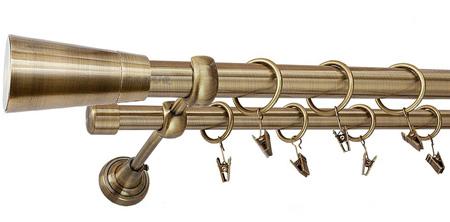 Karnisz IMPERIA Złoty Antyk,  podwójny Ø25+Ø19 z rurą gładką.