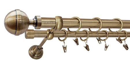 Karnisz KULA LUX Złoty Antyk,  podwójny Ø25+Ø19 z rurą gładką.