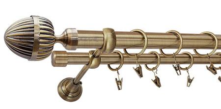 Karnisz ODEON Złoty Antyk,  podwójny Ø25+Ø19 z rurą gładką.