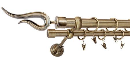 Karnisz VIOLO Złoty Antyk,  podwójny Ø25+Ø19 z rurą gładką.