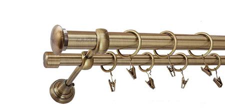 Karnisz ZAŚLEPKA Złoty Antyk,  podwójny Ø25+Ø19 z rurą gładką.