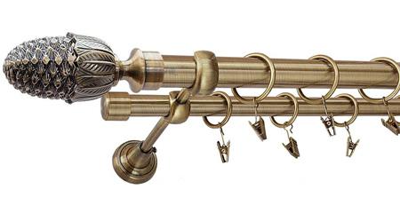Karnisz ŻOŁĄDŹ Złoty Antyk,  podwójny Ø25+Ø19 z rurą gładką.