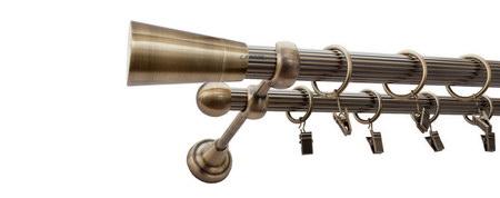 Karnisz IMPERIA Złoty Antyk,  podwójny Ø25+Ø16 z rurą ryflowaną.
