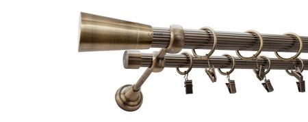 Karnisz IMPERIA Złoty Antyk,  podwójny Ø25+Ø19 z rurą ryflowaną.