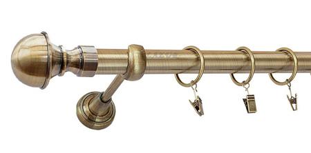 Karnisz BOSTON Złoty Antyk,  pojedynczy Ø25 z rurą gładką.