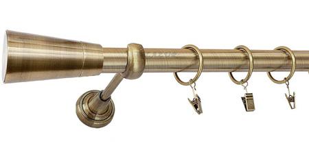 Karnisz IMPERIA Złoty Antyk,  pojedynczy Ø25 z rurą gładką.