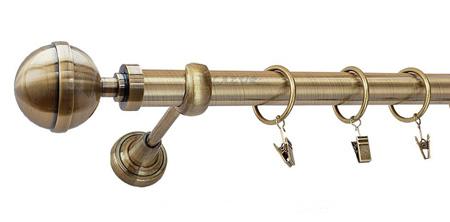 Karnisz KULA LUX Złoty Antyk,  pojedynczy Ø25 z rurą gładką.
