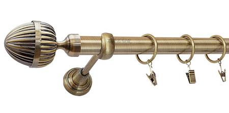 Karnisz ODEON Złoty Antyk,  pojedynczy Ø25 z rurą gładką.