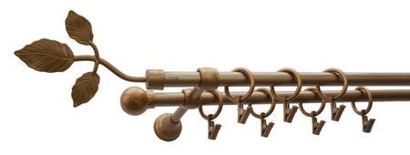 Karnisz LISTEK Złoty Antyk,  podwójny Ø16+Ø16.
