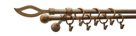 Karnisz PŁOMIEŃ Złoty Antyk,  podwójny Ø16+Ø16.