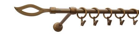Karnisz PŁOMIEŃ Złoty Antyk,  pojedynczy Ø16.