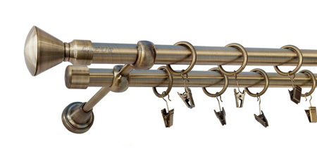 Karnisz APOLLO Złoty Antyk,  podwójny Ø19+Ø19 z rurą gładką.