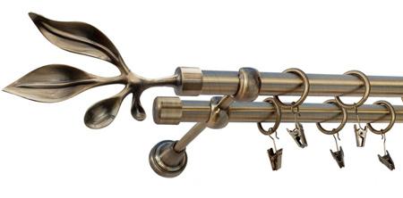 Karnisz BAWARO Złoty Antyk,  podwójny Ø19+Ø19 z rurą gładką.