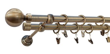 Karnisz GLOB Złoty Antyk,  podwójny Ø19+Ø19 z rurą gładką.