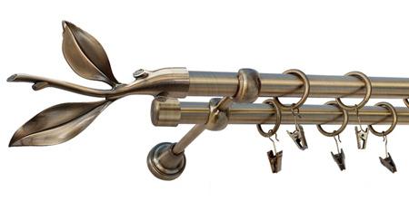 Karnisz LISTEK Złoty Antyk,  podwójny Ø19+Ø19 z rurą gładką.