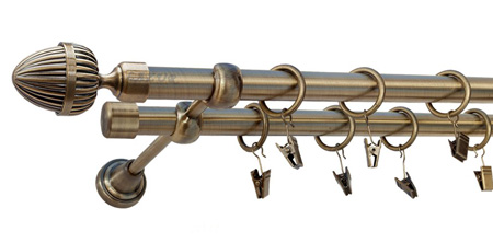 Karnisz ODEON Złoty Antyk,  podwójny Ø19+Ø19 z rurą gładką.