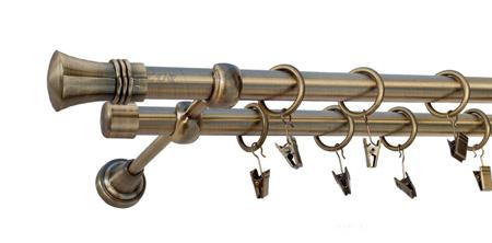 Karnisz PRINCE Złoty Antyk,  podwójny Ø19+Ø19 z rurą gładką.