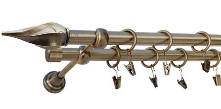Karnisz TWISTER Złoty Antyk,  podwójny Ø19+Ø19 z rurą gładką.