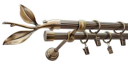 Karnisz LISTEK Złoty Antyk,  podwójny Ø19+Ø19 z rurą ryflowaną.