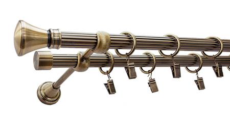 Karnisz LUXOR Złoty Antyk,  podwójny Ø19+Ø19 z rurą ryflowaną.