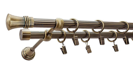 Karnisz PRINCE Złoty Antyk,  podwójny Ø19+Ø19 z rurą ryflowaną.