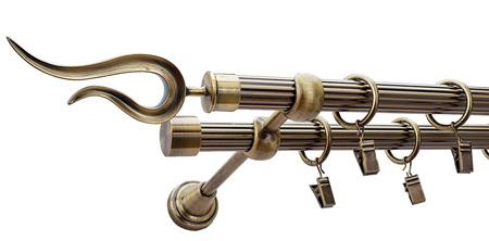 Karnisz VIOLO Złoty Antyk,  podwójny Ø19+Ø19 z rurą ryflowaną.