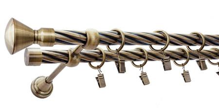 Karnisz APOLLO Złoty Antyk,  podwójny Ø19+Ø19 z rurą skrętną.